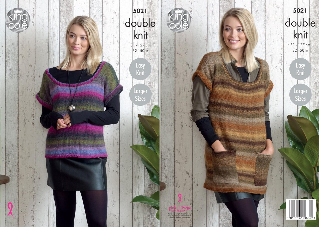 King Cole 5021 Knitting Pattern Womens Easy Knit Tunic and Top in ...