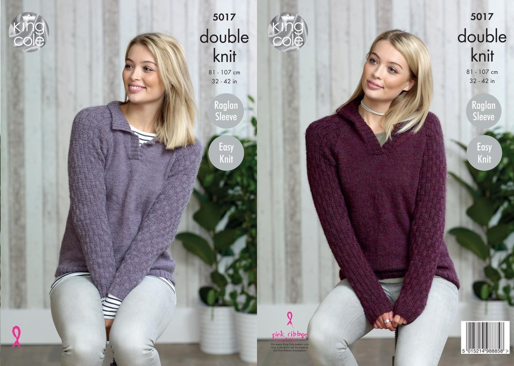 4998cbca5176 King Cole 5017 Knitting Pattern Womens Collared and Hooded Sweaters in King  Cole Panache DK - Athenbys