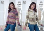King Cole 5028 Knitting Pattern Womens Sweater & Cardigan in King Cole Big Value Super Chunky Tints
