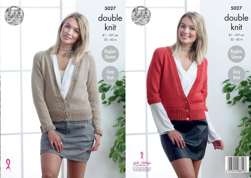 King Cole 5027 Knitting Pattern Womens Easy Knit Raglan Cardigans in ...