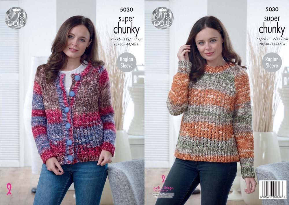 3242e5bca King Cole 5030 Knitting Pattern Womens Cardigan   Sweater in King Cole Big  Value Super Chunky Tints - Athenbys