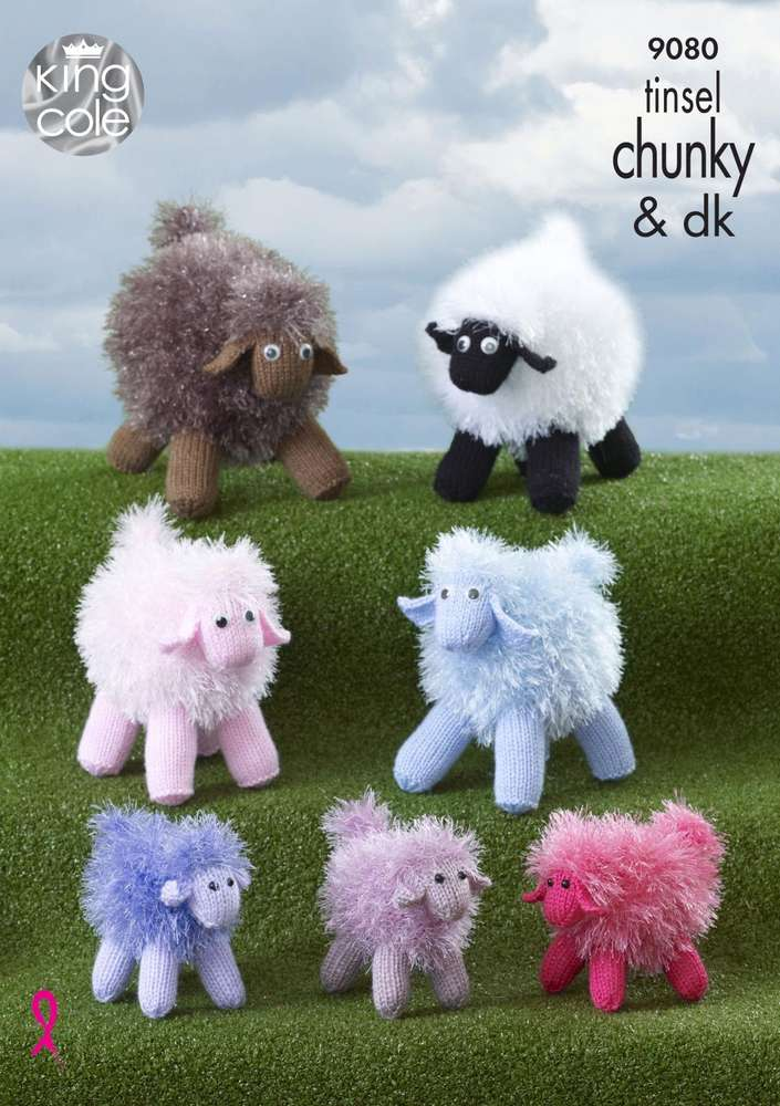 King Cole 9080 Knitting Pattern Toy Sheep In Tinsel Chunky Athenbys