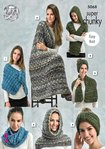 King Cole 5068 Knitting Pattern Wraps Blanket Scarf and Snood in Gypsy Super Chunky