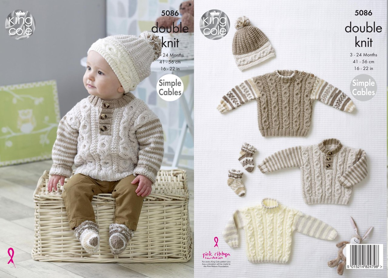 King Cole 5086 Knitting Pattern Baby Sweaters Hat and Socks in King ...