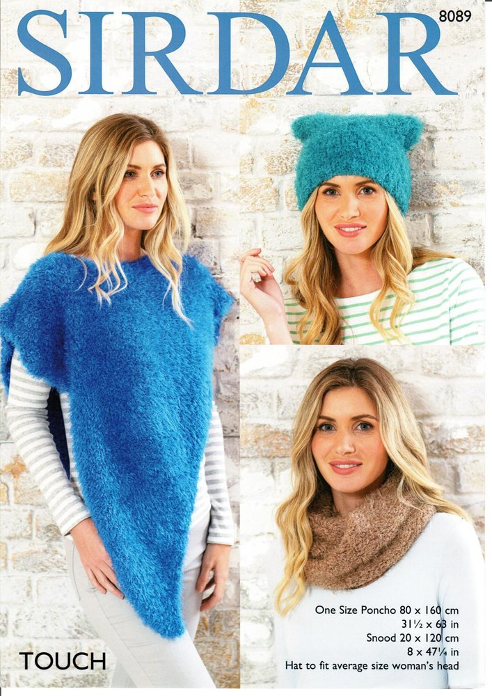 Sirdar 8089 Knitting Pattern Womens Poncho Snood And Hat In Sirdar