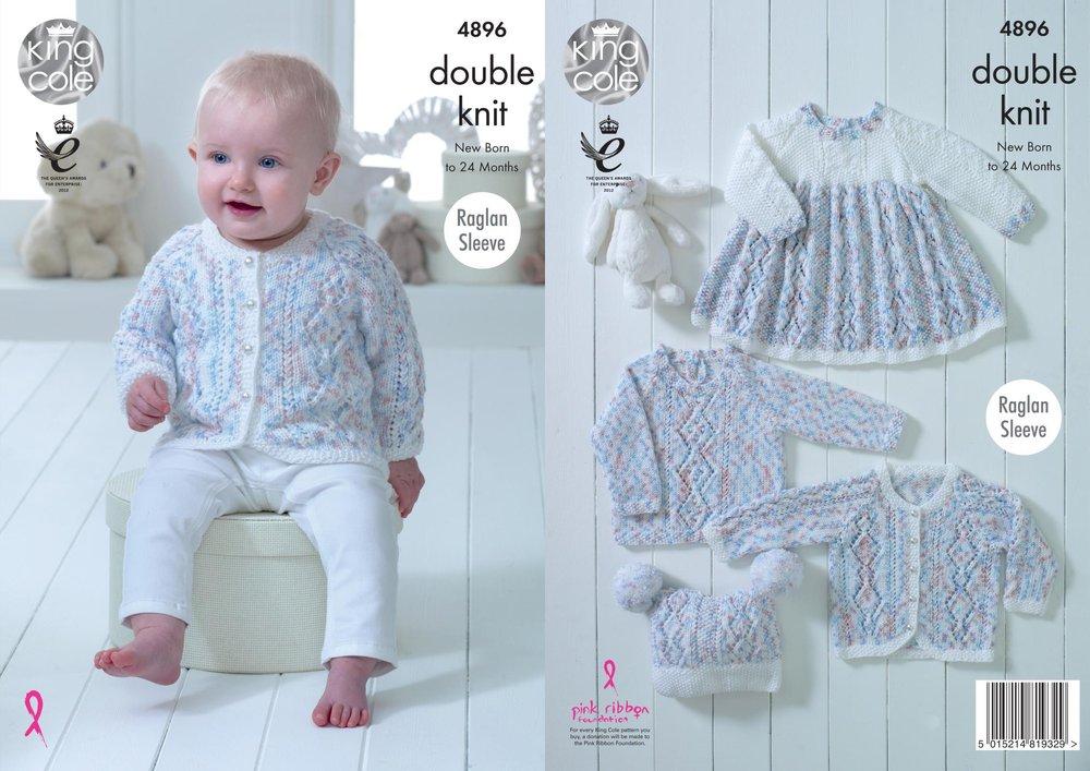 7426a90b27db3e King Cole 4896 Knitting Pattern Baby Set Dress Cardigan Sweater Hat in  Cherish Dash DK - Athenbys