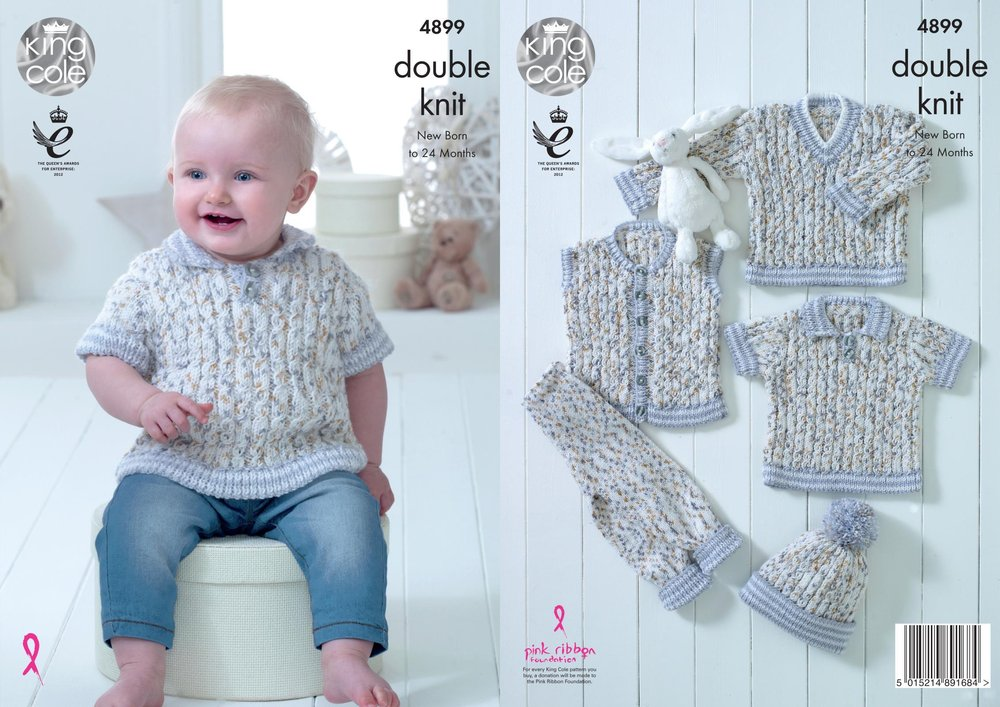 0a0c5d0e9 King Cole 4899 Knitting Pattern Baby Set Sweater Shirt Waistcoat ...