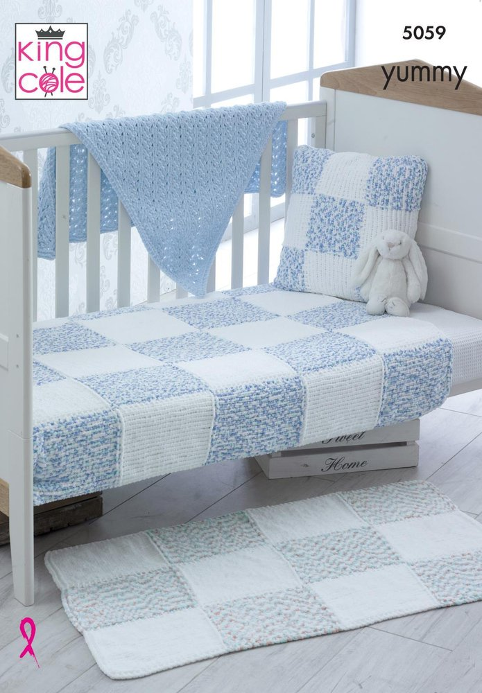 King Cole 5059 Knitting Pattern Cot And Pram Blankets Rug Cushion