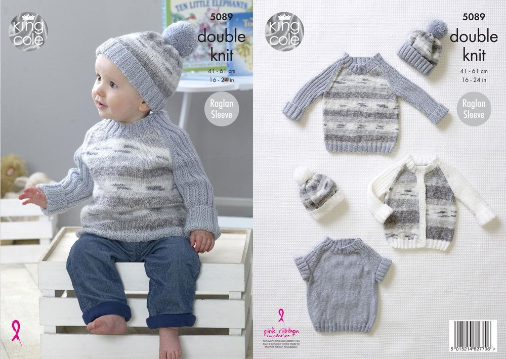 King Cole 5089 Knitting Pattern Baby Cardigan Sweaters And Hat In