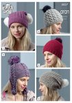 King Cole 5037 Knitting Pattern Womens Hats in King Cole Merino Blend Aran and Fashion Aran