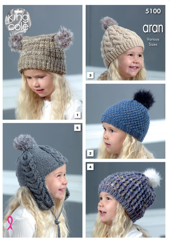 King Cole 5100 Knitting Pattern Childrens Hats In King Cole Merino
