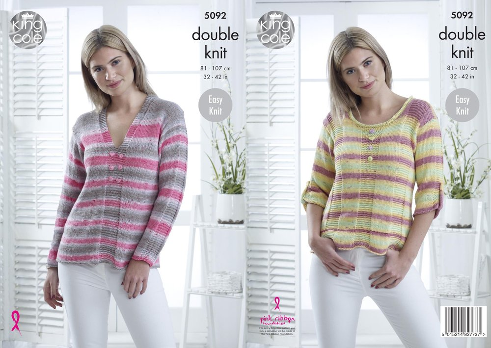 e872b80ea2ff King Cole 5092 Knitting Pattern Womens Easy Knit Sweaters in King Cole  Cottonsoft Crush DK - Athenbys