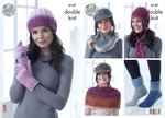 King Cole 5147 Knitting Pattern Hat Cowl Gloves Shoulder Cover Socks and Helmet in Curiosity DK