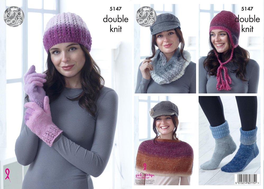 King Cole 5147 Knitting Pattern Hat Cowl Gloves Shoulder Cover Socks ...