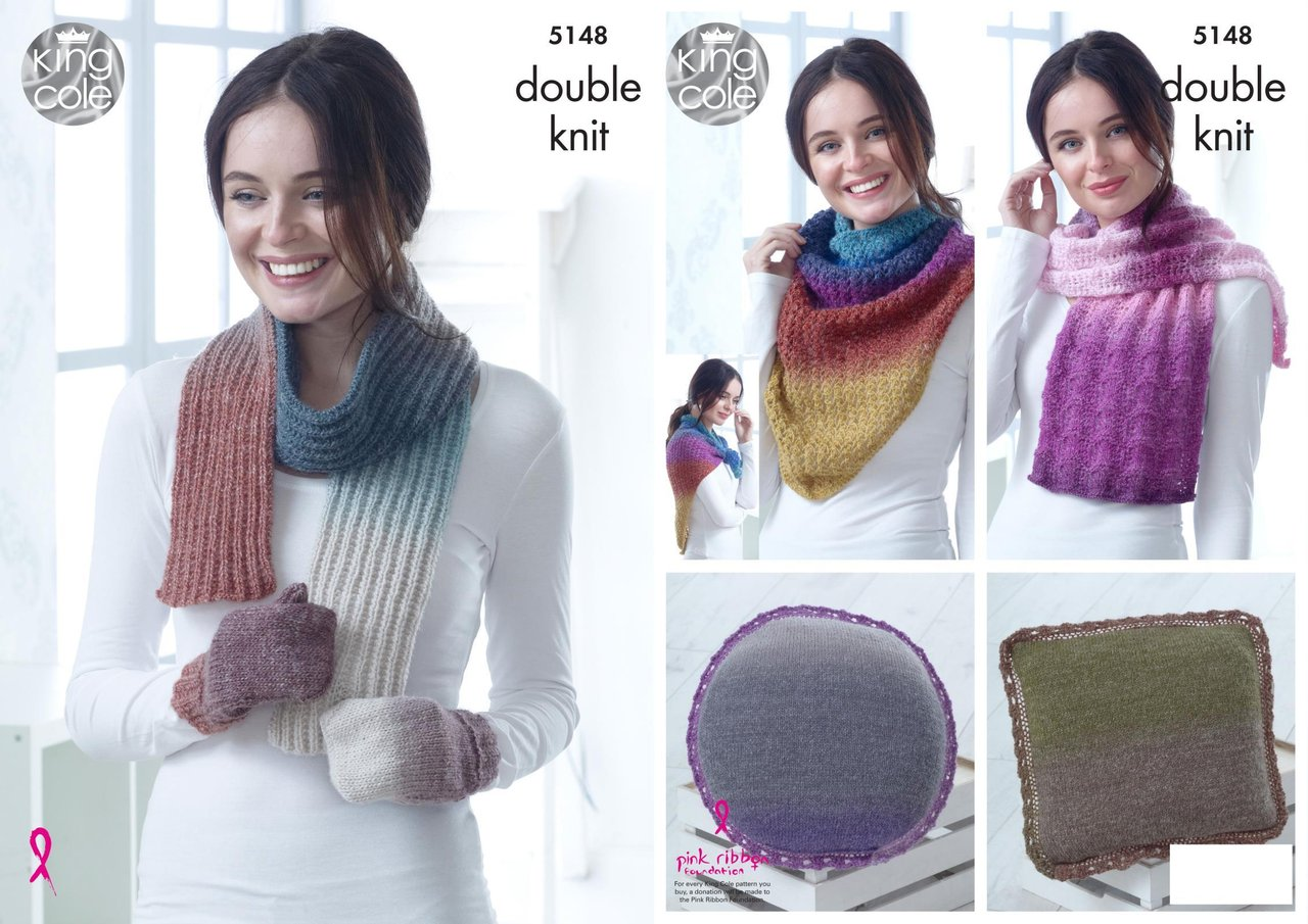 King Cole 5148 Knitting Pattern Scarf Mittens Wraps and Cushions in ...
