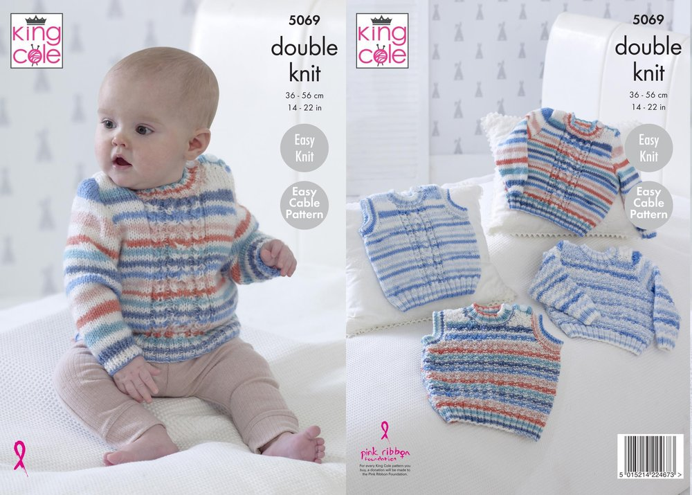 2966f072173403 King Cole 5069 Knitting Pattern Baby Easy Cable Sweaters and Slipovers in  King Cole Candystripe DK - Athenbys