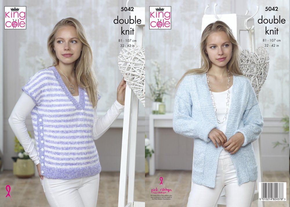 King Cole 5042 Knitting Pattern Womens Cardigan and Sweater in King ...
