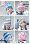 King Cole 5105 Knitting Pattern Baby Childrens Easy Knit Hats in King Cole Cottonsoft Baby Crush DK