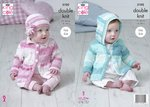 King Cole 5102 Knitting Pattern Baby Hooded and Collared Coats and Hat in Cottonsoft Baby Crush DK