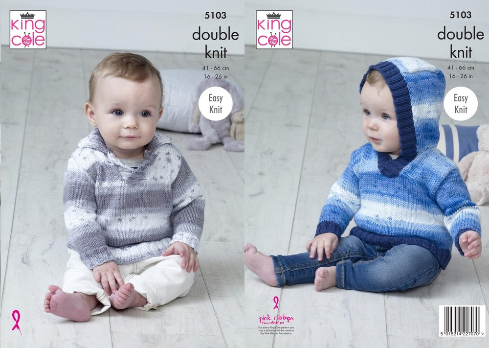 King Cole 5103 Knitting Pattern Baby Hooded and Collared Sweaters in ...