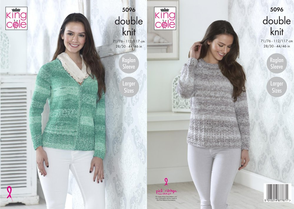 King Cole 5096 Knitting Pattern Womens Raglan Sleeve Cardigan and ...