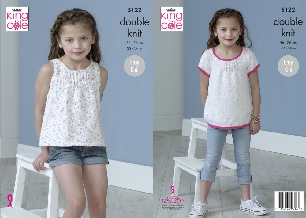 King Cole 5122 Knitting Pattern Girls Easy Knit Tops in King Cole ...