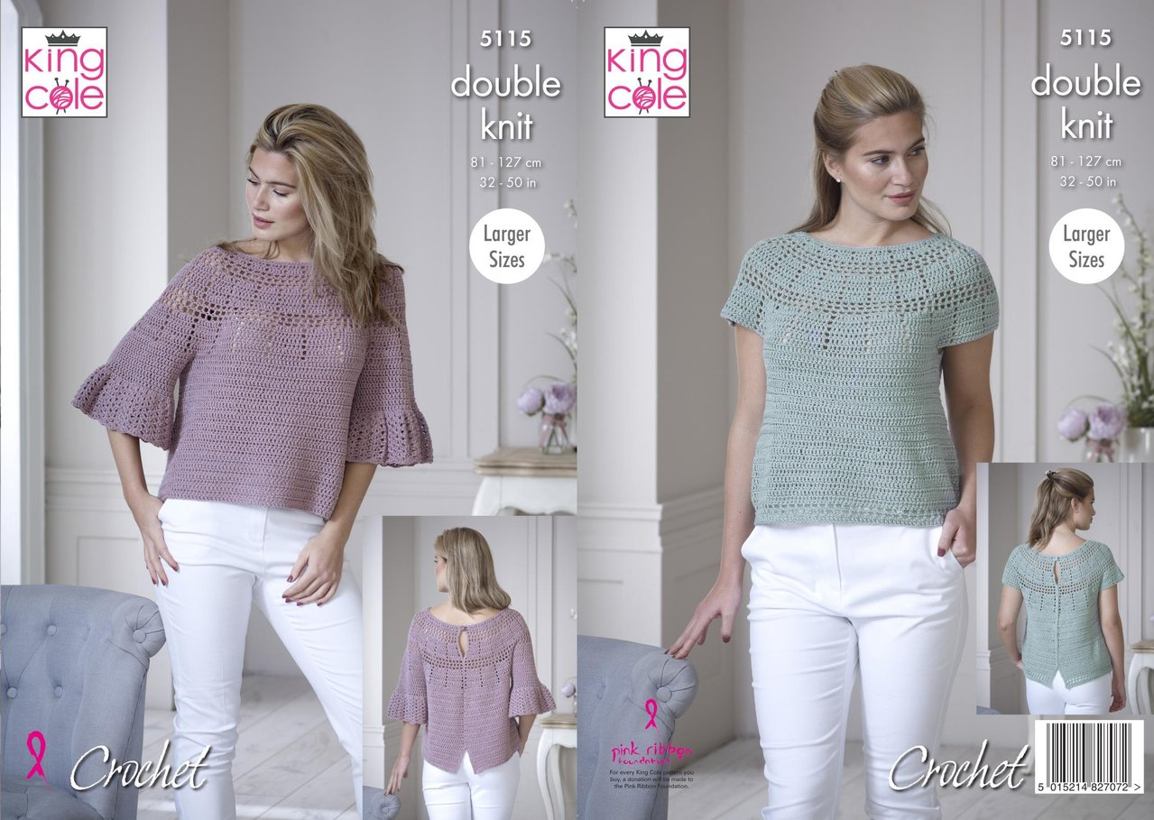 King Cole 5115 Crochet Pattern Womens Bell and Short Sleeve Tops in ...