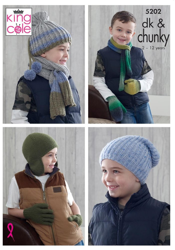 King Cole 5202 Knitting Pattern Boys Hats Scarves Gloves And Mittens