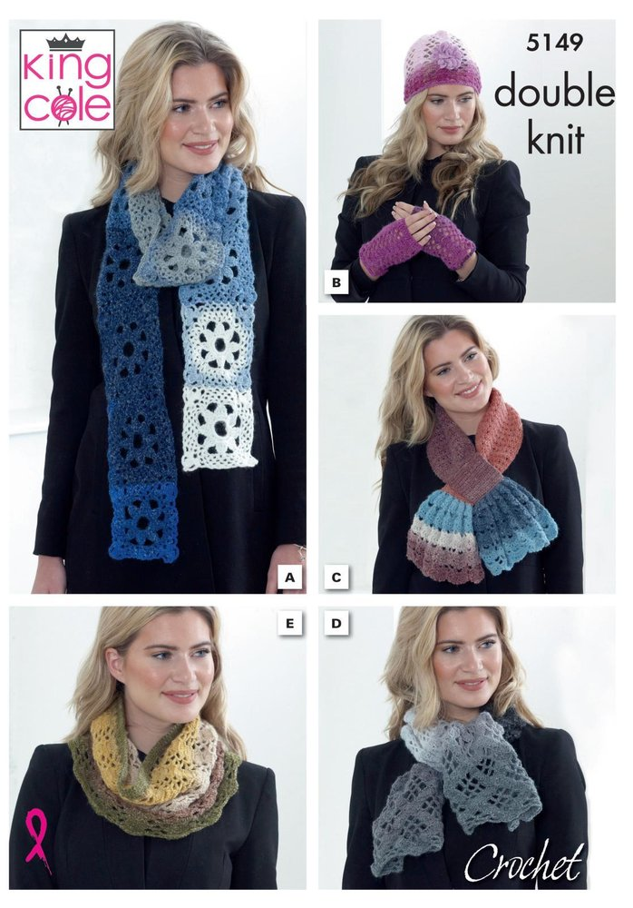 King Cole 5149 Crochet Pattern Scarfs Cowl Hat Hand and Neck Warmer ...