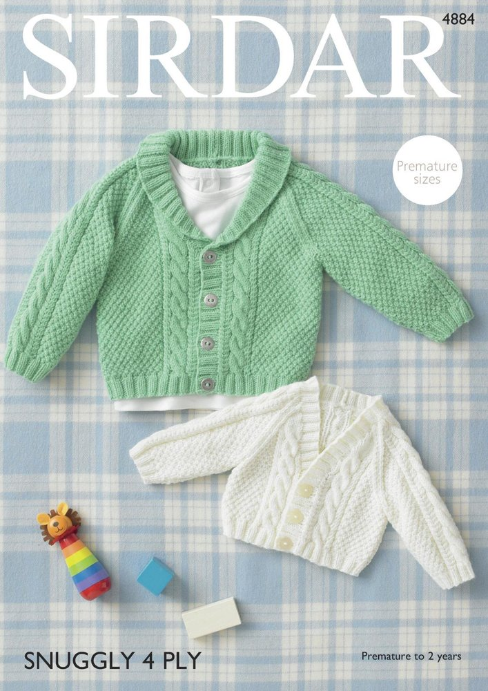 Sirdar 4884 Knitting Pattern Baby Raglan Cardigans In Sirdar Snuggly