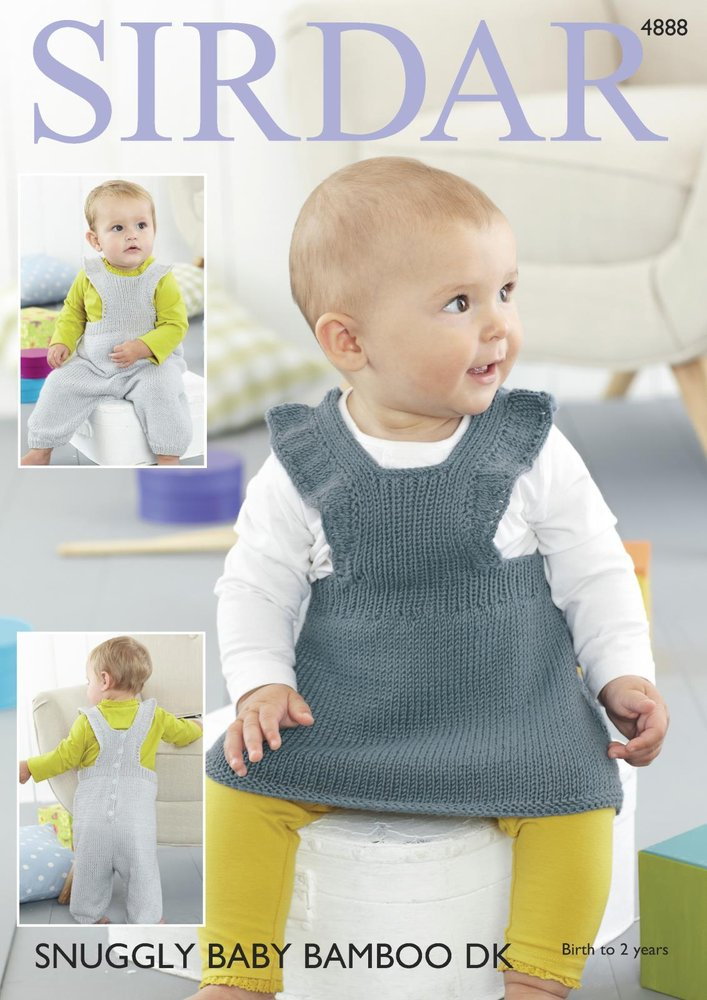 7ce375230775 Sirdar 4888 Knitting Pattern Baby Pinafore Dress and Dungarees in Sirdar  Snuggly Baby Bamboo DK - Athenbys