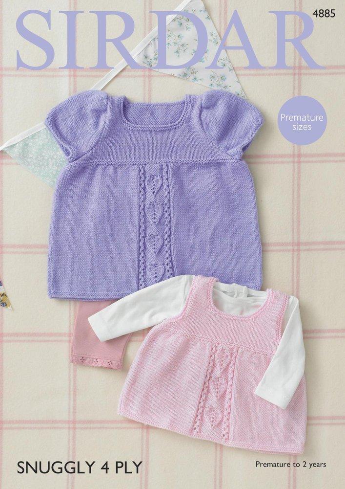 Sirdar 4885 Knitting Pattern Baby Dress And Pinafore In Sirdar