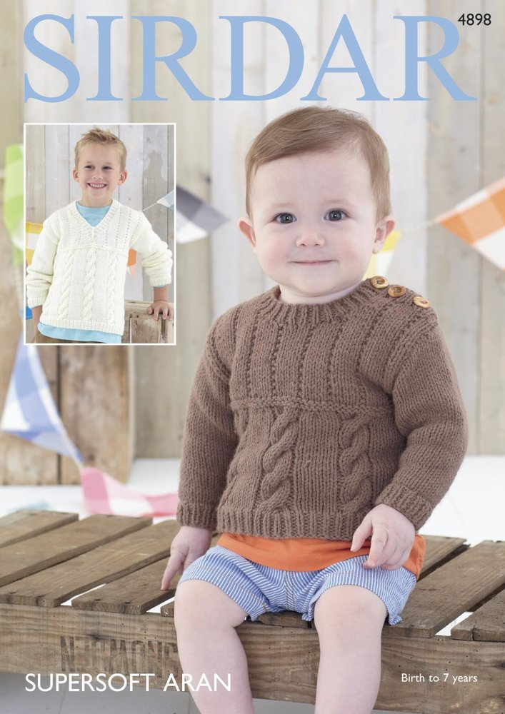b00d3b22d2f2 Sirdar 4898 Knitting Pattern Baby and Child Round and V Neck ...