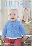 Sirdar 4902 Knitting Pattern Baby and Childrens Round & Wrap Neck Sweaters in Sirdar Supersoft Aran