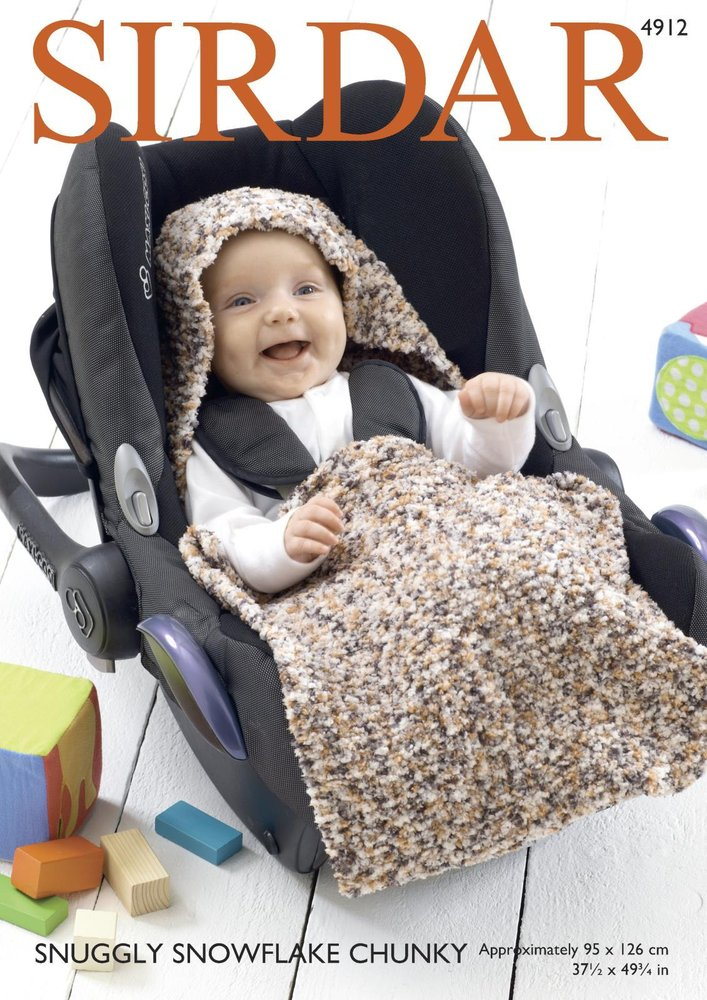 Sirdar 4912 Knitting Pattern Baby Car Seat Blanket In Sirdar Snuggly