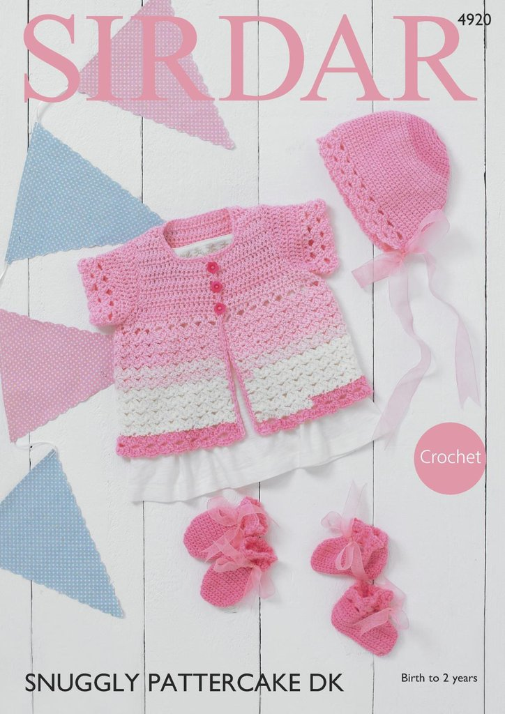 Sirdar 4920 Crochet Pattern Baby Cardigan Bonnet Bootees and Mittens ...