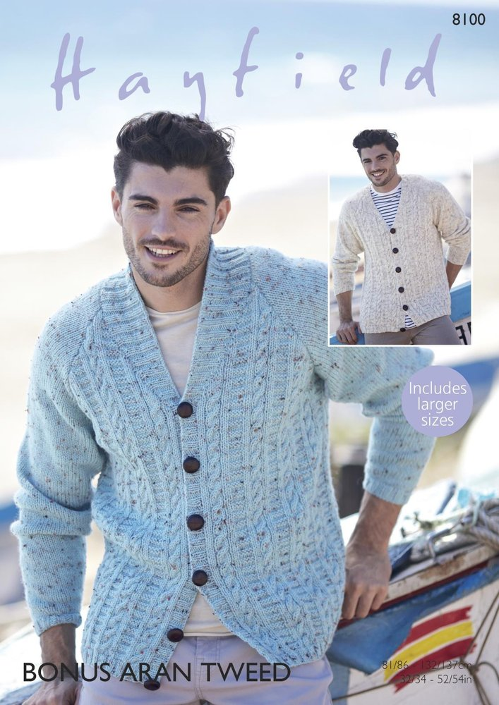 Sirdar 8100 Knitting Pattern Mens V Neck And Shawl Collar Cardigans