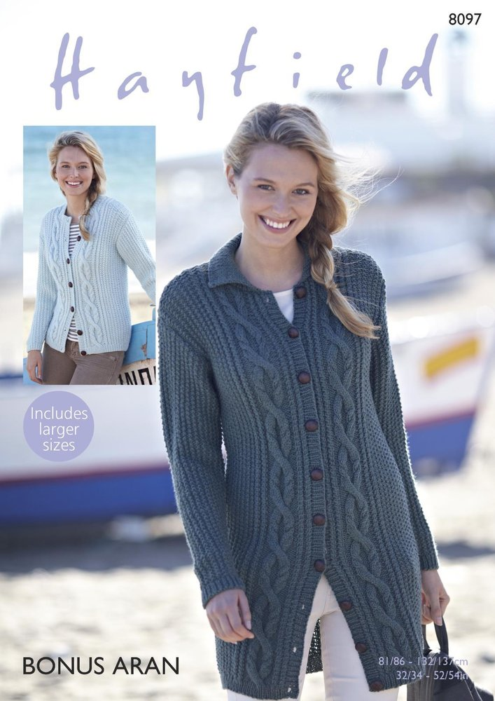 Sirdar 8097 Knitting Pattern Womens Cable Cardigans In Hayfield
