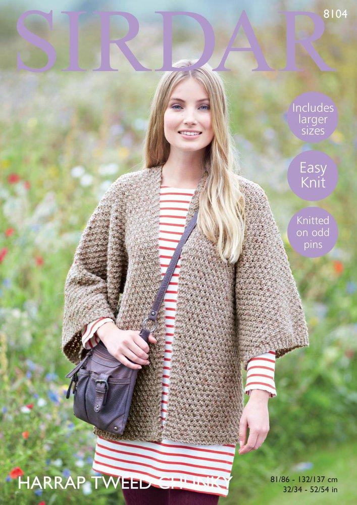 18af3df338a4 Sirdar 8104 Knitting Pattern Womens Kimono Jacket in Sirdar Harrap Tweed  Chunky - Athenbys