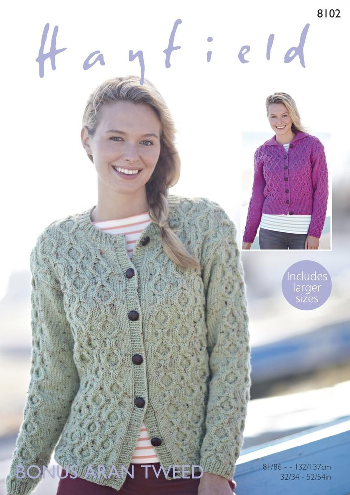 Sirdar 8102 Knitting Pattern Womens Cardigans in Hayfield Bonus Aran ...