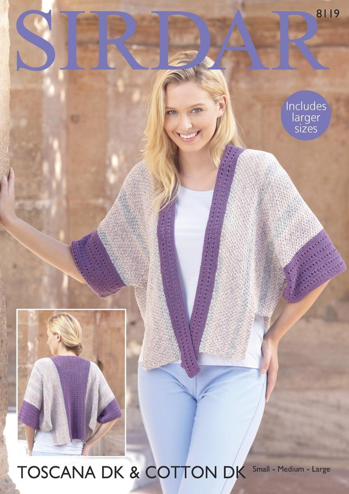 Sirdar 8119 Knitting Pattern Womens Kimono Style Jacket In Sirdar