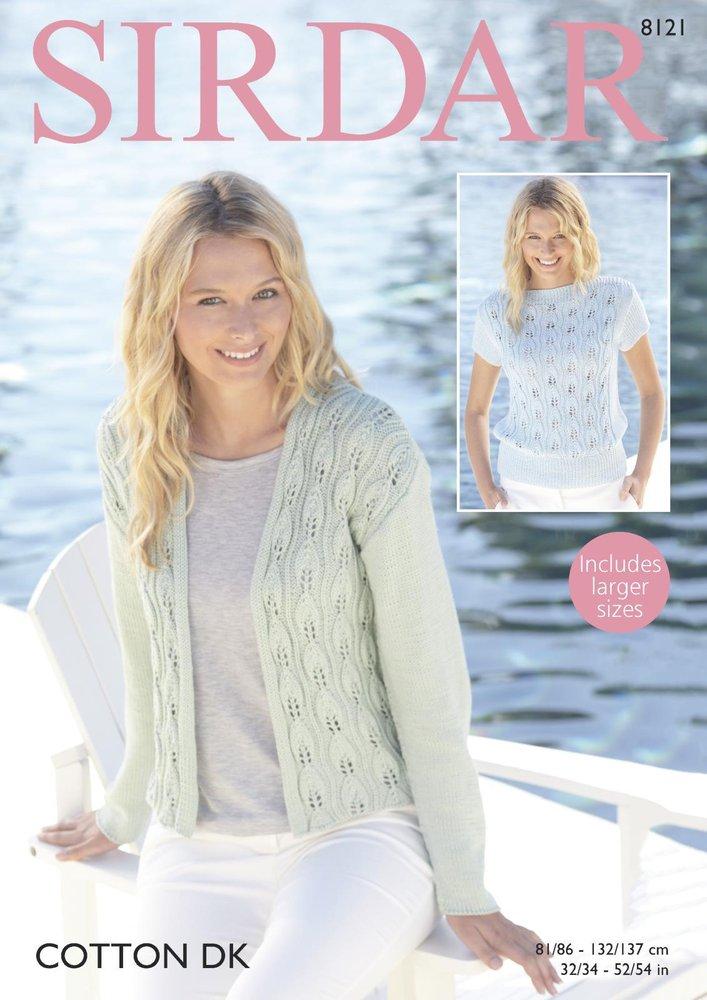 d3a206de9 Sirdar 8121 Knitting Pattern Womens Jacket and Top in Sirdar Cotton DK -  Athenbys