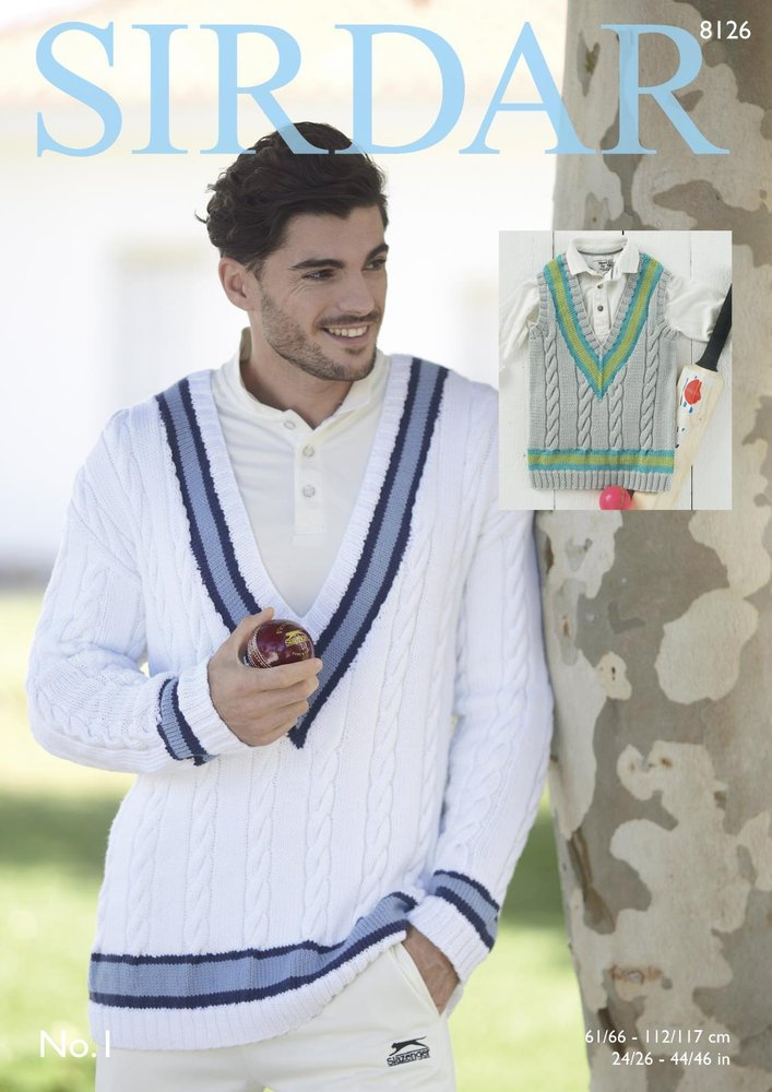 9957f1f14cc7 Sirdar 8126 Knitting Pattern Mens Boys Cricket Sweater and Tank Top in Sirdar  No. 1 DK - Athenbys