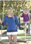 Sirdar 8144 Knitting Pattern Girls Womens Long and 3/4 Sleeve Striped Tops in Hayfield Sundance DK