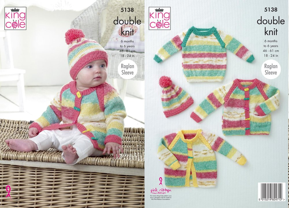 King Cole 5138 Knitting Pattern Baby Child Jacket Cardigan Sweater