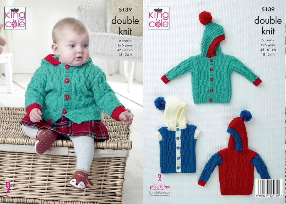 King Cole 5139 Knitting Pattern Baby Child Jacket Sweater and Gilet ...