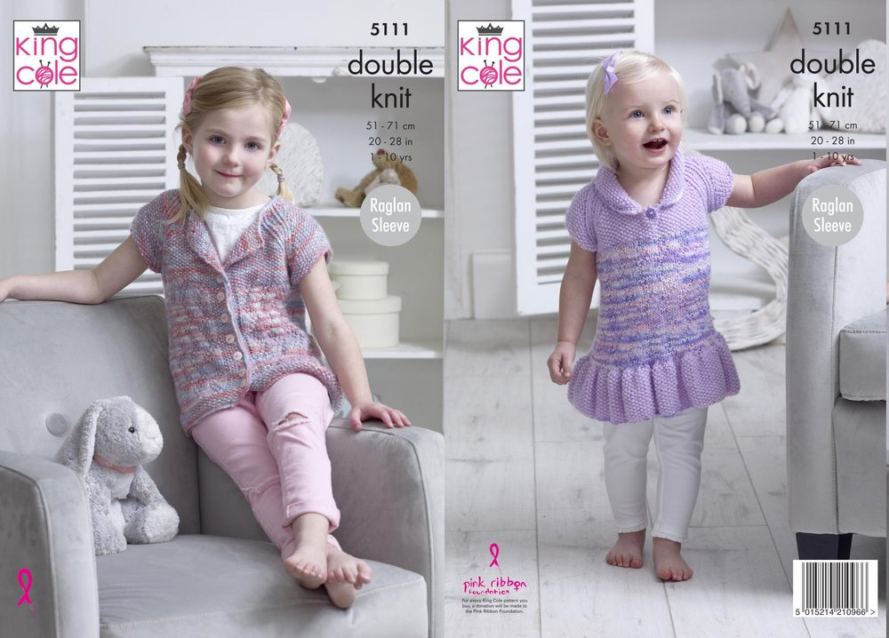 1d4312ffd King Cole 5111 Knitting Pattern Baby Girls Cardigan and Smock Top in ...