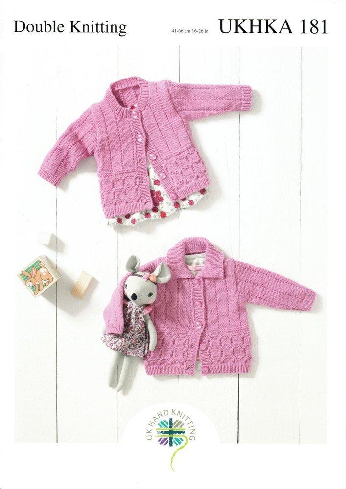 UKHKA 181 Knitting Pattern Baby and Childrens Round Neck and Flat ...