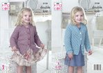 King Cole 5128 Knitting Pattern Girls V and Round Neck Cardigans in Cottonsoft DK
