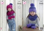 King Cole 5167 Knitting Pattern Girls Mitts Snood and Hats in King Cole Comfort Chunky
